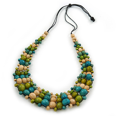 Olive/ Teal/ Beige Wooden Bead Black Cord Necklace - 70cm L