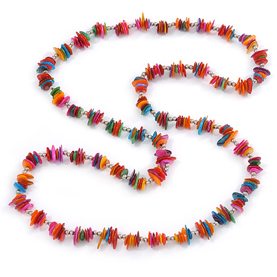 Avalaya Long Pastel Multicoloured Shell Nugget and Glass Crystal Bead Necklace - 110cm L 61WyNo