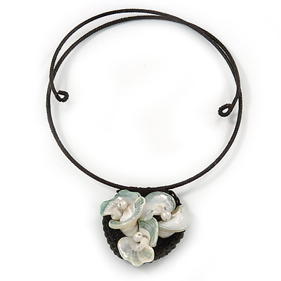 Sea Shell Calla Lily Floral Pendant Flex Wire Choker Necklace - Adjustable