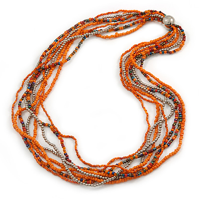Multistrand Orange/ Metallic Silver Glass Bead Long Necklace - 76cm L - main view