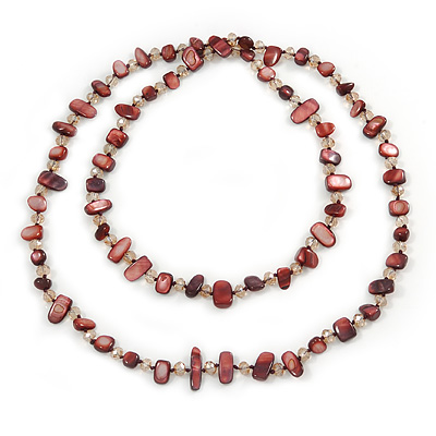 Avalaya Long Dark Green/Oxblood/Grey Shell Nugget and Glass Crystal Bead Necklace - 110cm L Vt5BqQne