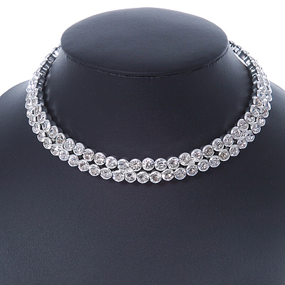 2-Row Clear Austrian Crystal Choker Necklace In Rhodium Plating - 39cm L/ 6cm Ext