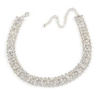 Statement Clear Crystal Choker Necklace In Silver Tone Metal - 30cm L/ 10cm Ext