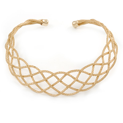 Gold Tone Textured Plaited Choker Necklace - Adjustable