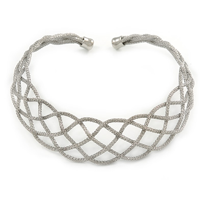 Silver Tone Textured Plaited Choker Necklace - Adjustable