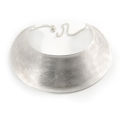 Chunky, Egyptian Style Light Silver Plated Scratched Choker Necklace - 32cm L/ 11cm Ext