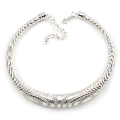 Light Silver Chunky Textured Spring Type Choker Necklace - 41cm L/ 6cm Ext
