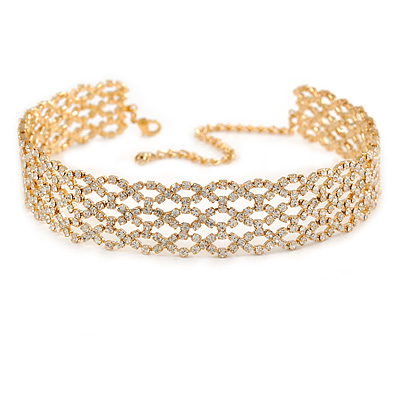 3 Row Clear Crystal Choker Necklace In Gold Tone Metal - 29cm L/ 11cm Ext