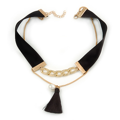 Black Velour Cord Gold Tone Chain with Tassel Choker Necklace - 33cm L/ 4cm Ext