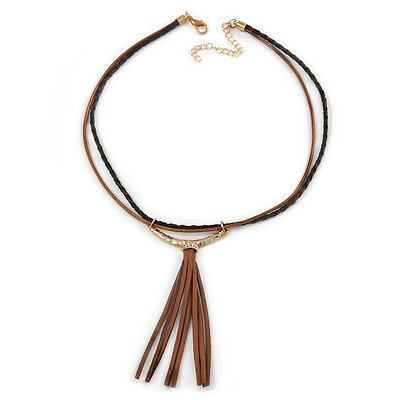 Tribal Brown/ Black Leather Style Necklace with Suede Tassel - 42cm L/ 7cm Ext/ 10cm Tassel