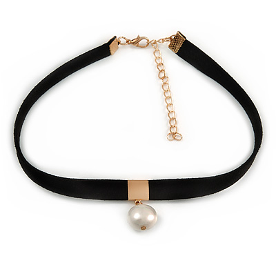 Black Faux Suede Choker Necklace with Lustrous Freshwater Pearl Bead 15mm Pendant - 30cm L/ 7cm Ext