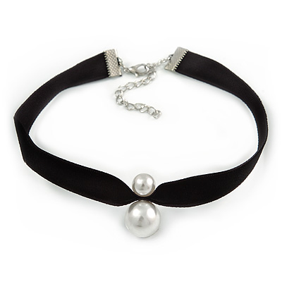 Black Velour Choker Necklace with Double Pearl Bead 15mm/ 10mm Pendant - 29cm L/ 6cm Ext