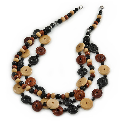 3 Strand Black/ Brown/ Neutral Round, Button Wooden Beads Necklace - 70cm - main view
