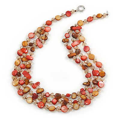 Avalaya Ethnic Multistrand Carrot Red Glass Necklace With Wood Hook Closure - 50cm L PkYms0tz