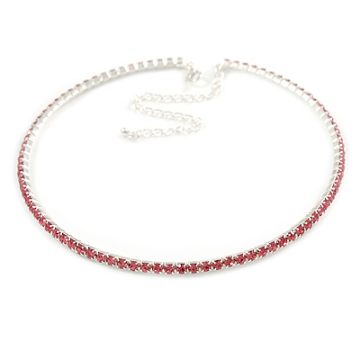 Thin Pink Top Grade Austrian Crystal Choker Necklace In Rhodium Plated Metal - 36cm L/ 10cm Ext