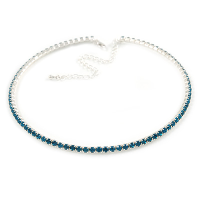 Thin Teal Blue Top Grade Austrian Crystal Choker Necklace In Rhodium Plated Metal - 36cm L/ 10cm Ext