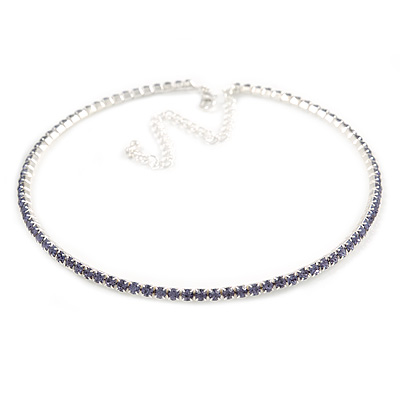 Thin Light Amethyst/ Purple Top Grade Austrian Crystal Choker Necklace In Rhodium Plated Metal - 36cm L/ 10cm Ext