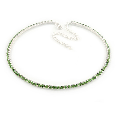 Salad Green Top Grade Austrian Crystal Choker Necklace In Rhodium Plated Metal - 35cm L/ 11cm Ext
