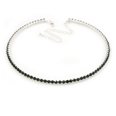 Dark Green Top Grade Austrian Crystal Choker Necklace In Rhodium Plated Metal - 35cm L/ 11cm Ext
