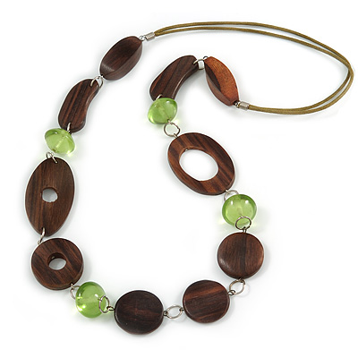 Long Brown Wood and Green Acrylic Bead with Olive Cotton Cords Neckalce - 80cm L