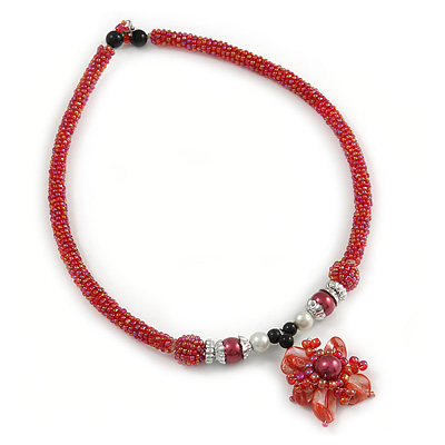 Red Glass Collar Necklace with Red Shell Flower Pendant - 43cm L