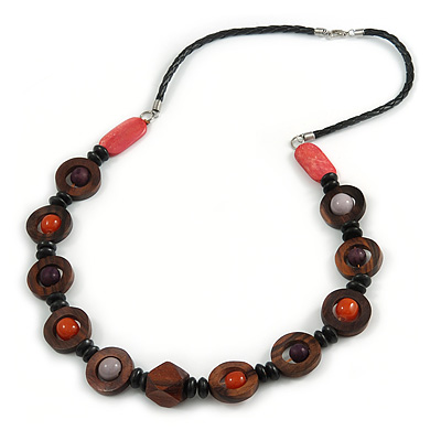 Avalaya Black/Lime Green Cluster Wood Bead With Black Cord Necklace - 54cm L 7RF0f