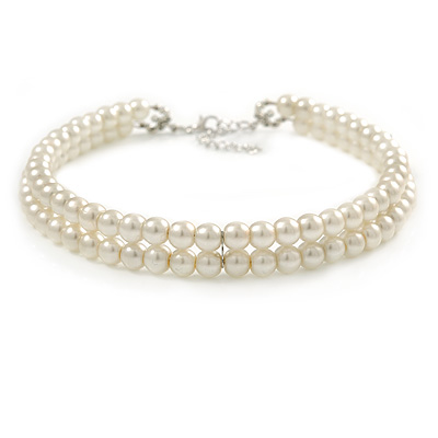 Two Row Light Cream Faux Glass Pearl Rigid Choker Necklace with Silver Tone Closure - 34cm L/ 4cm Ext