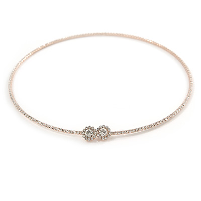 Delicate Clear Austrian Crystals Slim Flex Choker Necklace In Rose Gold Tone