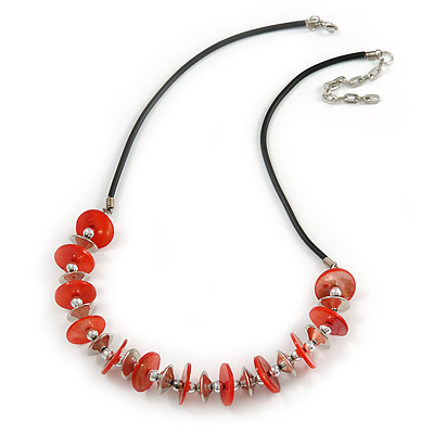 Red Coin Shell and Silver Tone Metal Button Bead Black Rubber Cord Necklace - 61cm L/ 7cm Ext