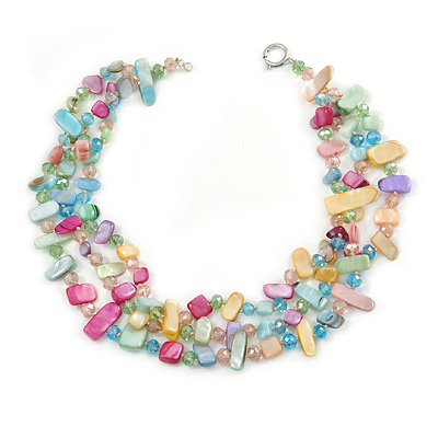 3 Row Pastel Multicoloured Shell And Glass Bead Necklace - 45cm L - main view
