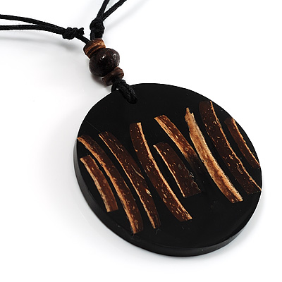Black Round Resin Cord Pendant