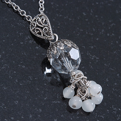Vintage Inspired Transparent Glass Bead Pendant With Antique Silver Tone Chain - 38cm Length/ 8cm Extension