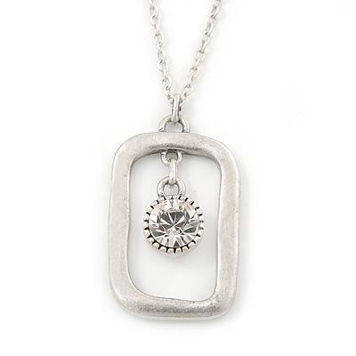Matte Silver Square Pendant With Long Chain Necklace - 70cm Length/ 7cm Extension