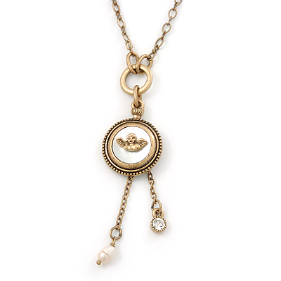 Vintage Inspired Mother of Pearl 'Angel' Pendant On Burn Gold Chain Necklace - 36cm Length/ 7cm Extension