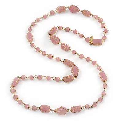 Pink Glass, Ceramic Bead With Gold Tone Wire Long Necklace - 88cm L - main view