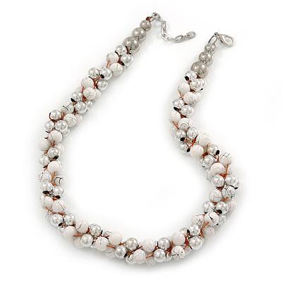 White & Silver Tone Acrylic Bead Cluster Choker Necklace - 38cm L/ 5cm Ex