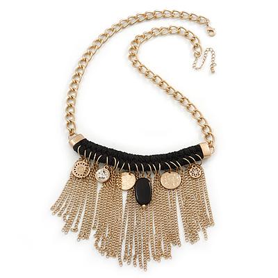 Statement Gold Tone with Black Cotton Cord Fringe Necklace - 63cm L/ 7cm Ext/ 11cm Pendant