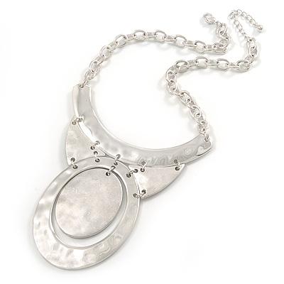 Polished/ Matt Silver Tone Structural Hammered Necklace - 38cm L/ 5cm Ext/ 10cm Pendant