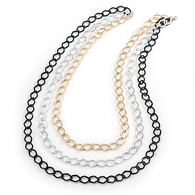 3 Strand, Layered Textured Oval Link Necklace (Black/ Light Silver/ Gold Tone) - 86cm L - main view