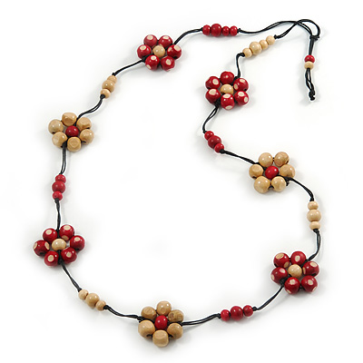 Avalaya Long Stone and Wood Bead Necklace (Light Green, Yellow, Red) - 84cm L