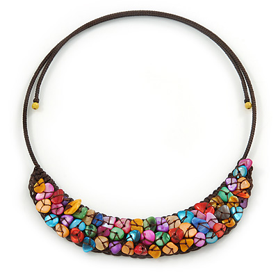 Multicoloured Sea Shell Bead Collar Flex Wire Choker Necklace - Adjustable