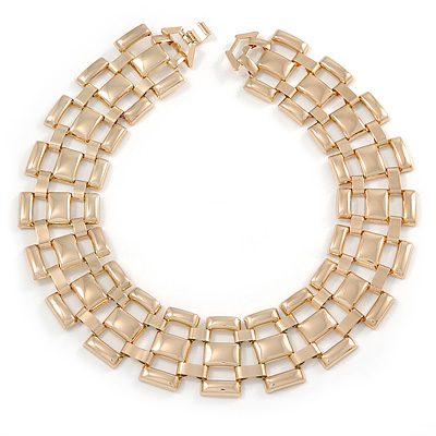 Egyptian Style Square Link Necklace In Polished Gold Tone Metal - 43cm L