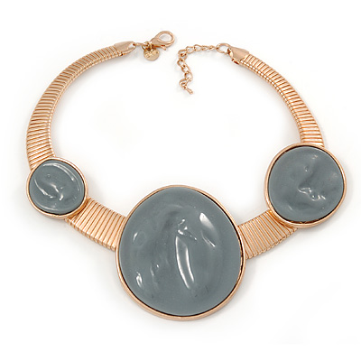 Statement Grey Resin Circle Choker Necklace In Gold Plating - 41cm L/ 5cm Ext