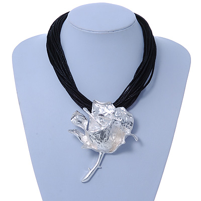 Oversized Hammered Rose Pendant with Black Waxed Cotton Cords In Silver Tone - 41cm L/ 5cm Ext - main view