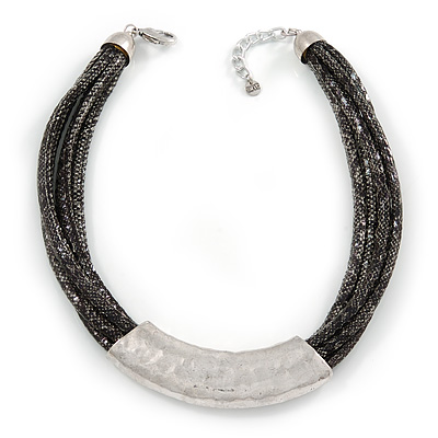 Statement Grey/ Black Snake Style Faux Leather Multi Cord Choker Necklace with Hammered Silver Tone Pendant - 43cm L/ 3cm Ext