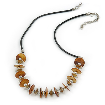 Brown Shell Coin with Silver Metal Bead Rubber Cord Necklace - 60cm L/ 7cm Ext
