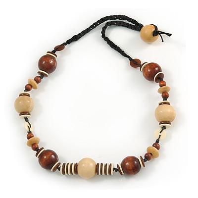 Avalaya Lilac/Purple Wood Bead Black Cotton Cord Necklace - 66cm L nZ1eDyJJ5I