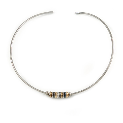 Stylish Polished Silver Tone Bar Choker Style Necklace with Sliding Rings - Flex - Adjustable
