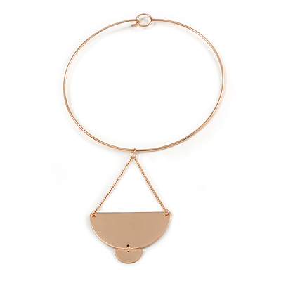 Polished Gold Plated Geometric Pendant Choker Style Necklace - 41cm L/ 10cm Drop