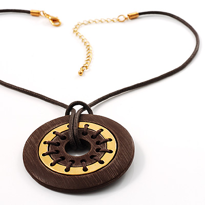 Brown Ebonite Disk Fashion Pendant